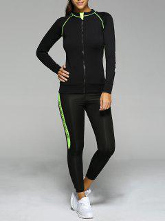 Contrast Color Zippered Letter Pattern Sports Suit - Black S