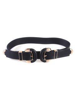 Casual Double D Buckles Wide Belt - Black