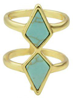 Multilayered Faux Rammel Geometric Ring - Blue One-size