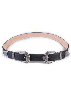 Vintage Double Buckles Wide Belt - Silver