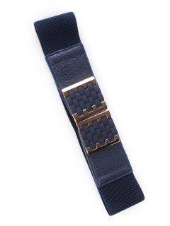 Brick Buckles Elastic Wide Belt - Deep Blue