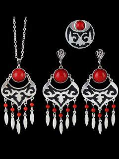 Leaf Beads Hollow Out Jewelry Set - Red One-size