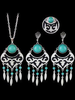 Leaf Beads Hollow Out Jewelry Set - Green One-size