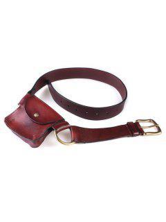Coin Purse Metal Hoop Waist Belt - Brown