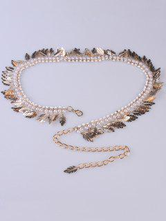 Feather Faux Pearl Waist Belt Chain - Golden