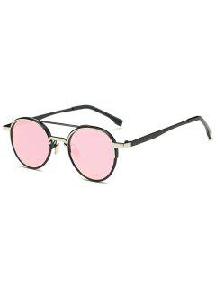 Metal Crossbar Mirrored Oval Sunglasses - Pink