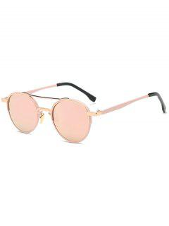 Metal Crossbar Oval Mirrored Sunglasses - Pink