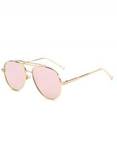 Ombre Lens Crossbar Mirrored Pilot Sunglasses - Pink