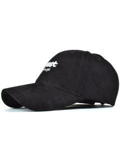 Letters Faux Suede Baseball Hat - Black