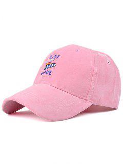 Surfboard Faux Suede Baseball Hat - Pink