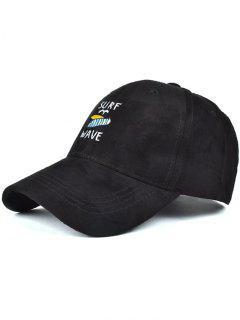 Surfboard Faux Suede Baseball Hat - Black