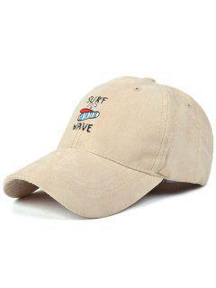 Surfboard Faux Suede Baseball Hat - Light Khaki