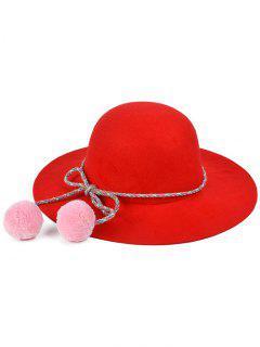 Pompon Lace-Up Felt Jazz Hat - Red