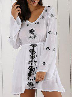 Embroidery V Neck Long Sleeve Drawstring Dress - White S