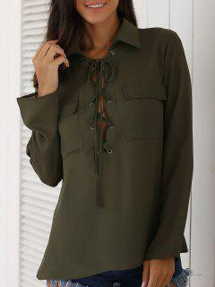 Lace-Up Turn Down Collar Long Sleeves Shirt - Army Green Xl