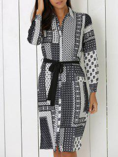 Vintage Printed Turn Down Collar Long Sleeve Dress - Gray S
