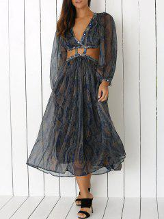 Print Plunging Neck 3/4 Sleeve Cut Out Maxi Dress - S