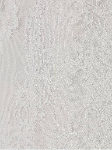 Robe en dentelle transparente avec manches - Blanc XL Mobile