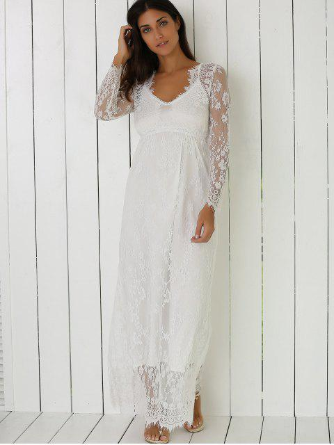 women See-Through Lace Dress With Sleeves - WHITE M Mobile