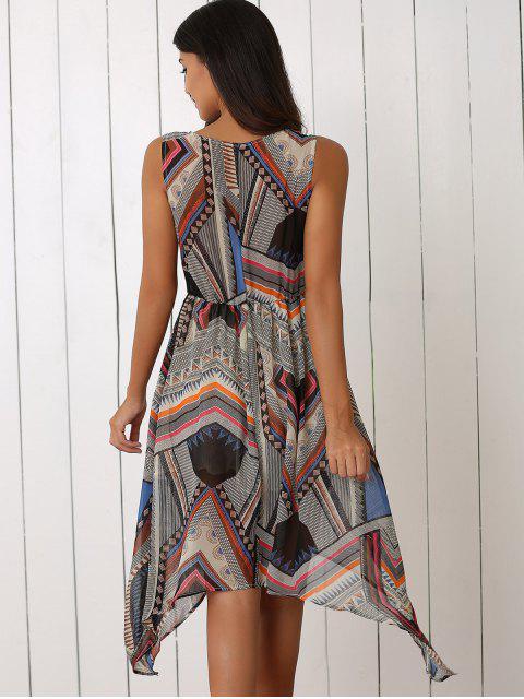 chic Retro Geometric Print V-Neck Waisted Dress - COLORMIX L Mobile
