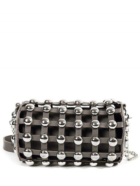 sale Chain Metal Rivets Cylinder Shape Crossbody Bag - GRAY  Mobile