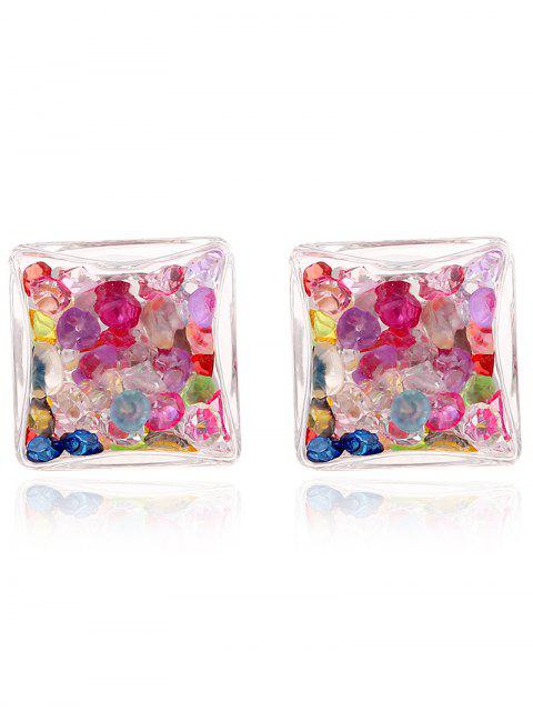 new Square Rhinestone Stud Earrings - COLORMIX  Mobile