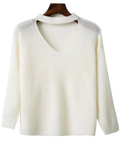 new Oversized Drop Shoulder Choker Sweater - WHITE ONE SIZE Mobile