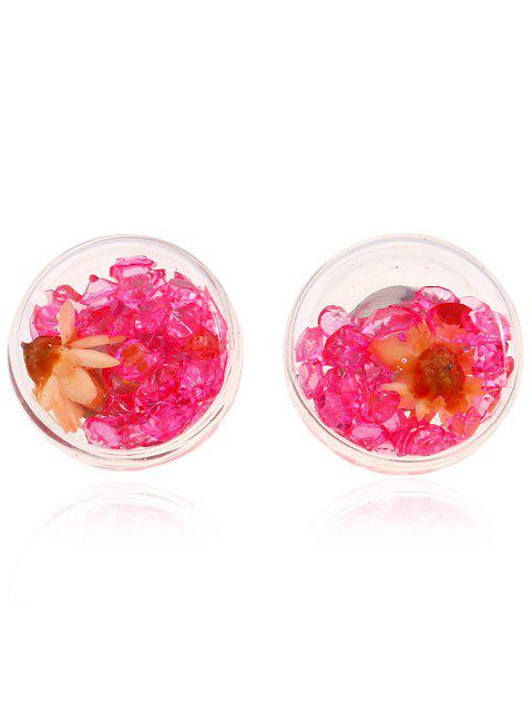 ladies Flower Rhinestone Stud Earrings - RED  Mobile