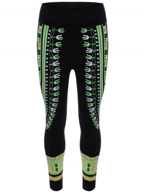 fashion Bodycon Printed Yoga Leggings - LIGHT GREEN ONE SIZE Mobile