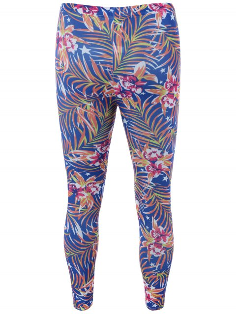 shops High Waisted Orchid Print Bodycon Leggings - BLUE ONE SIZE Mobile