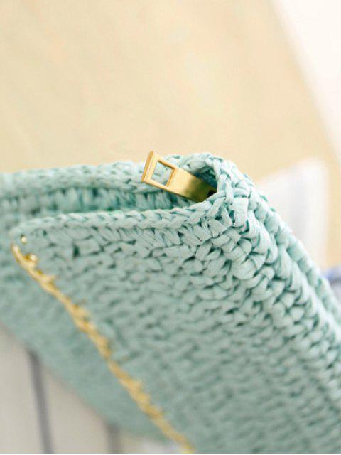 new Weaving Straw Chain-Trimmed Clutch Bag -   Mobile