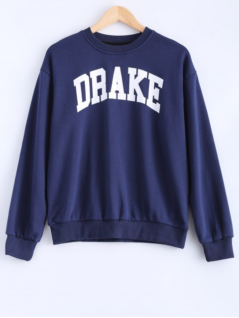 fashion Loose Fitting Letter Pattern Sweatshirt - CADETBLUE S Mobile