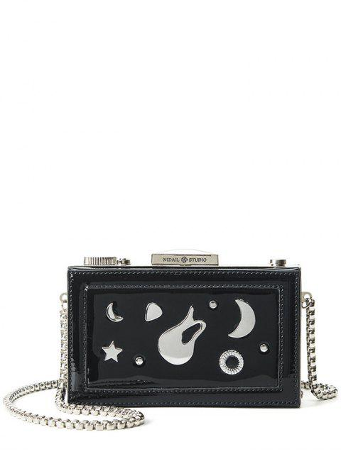 women Square Shaped Metal Chains Evening Bag - BLACK  Mobile