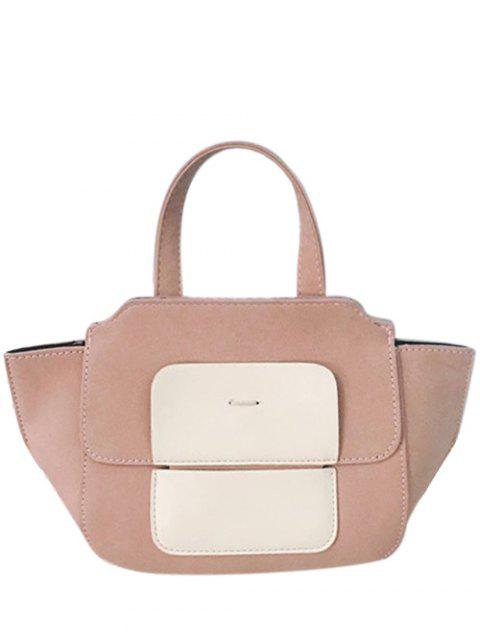 best Winged Color Block Tote Bag - PINK  Mobile