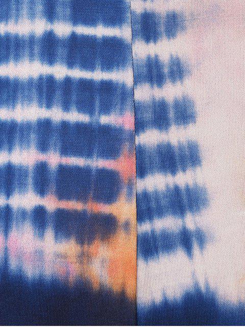 women's Tie Dye Print Cami Loose Romper - BLUE M Mobile