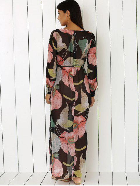 sale Boho Floral Long Sleeve Surplice Dress - COLORMIX M Mobile