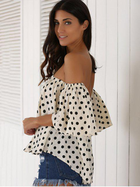 lady Off The Shoulder Polka Dot Blouse - APRICOT ONE SIZE Mobile