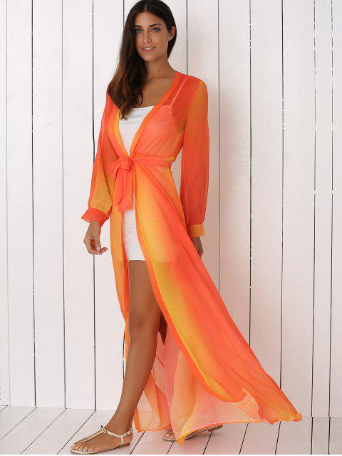 online Hit Color Plunging Neck Chiffon Maxi Dress - SWEET ORANGE XL Mobile