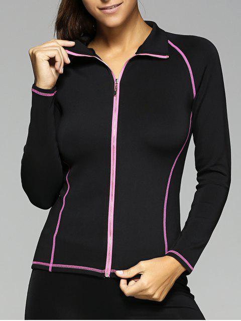 lady Zipper Design TopStitched Slimming Jacket - BLACK L Mobile