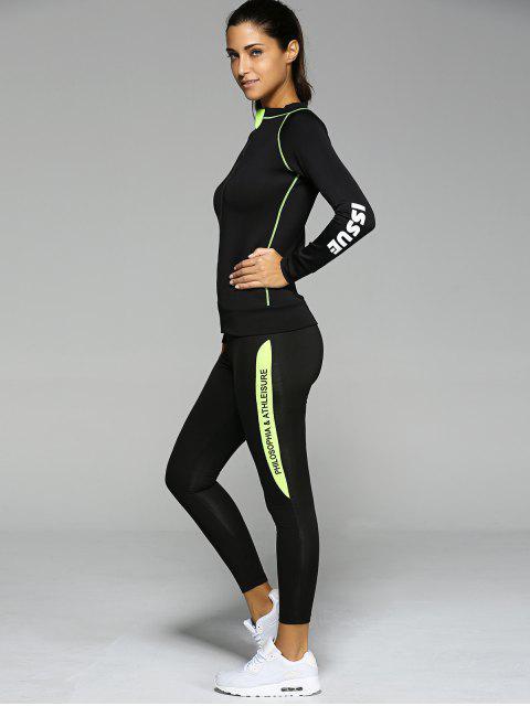 Kontrast Farbe mit Reißverschluss Letter-Muster Sport Anzug - Schwarz S Mobile