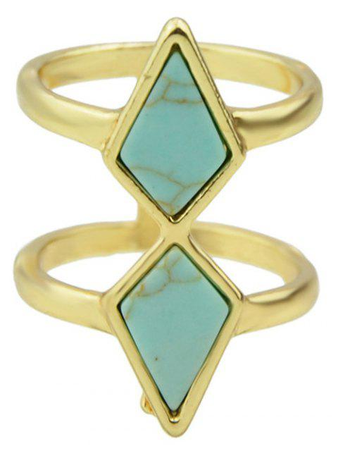 affordable Multilayered Faux Rammel Geometric Ring - BLUE ONE-SIZE Mobile