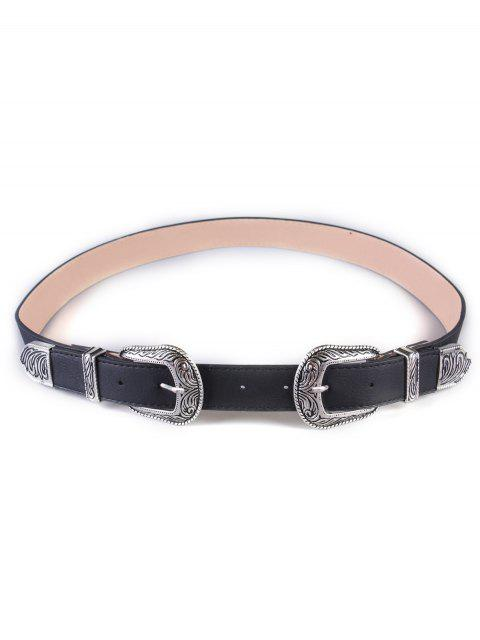 latest Vintage Double Buckles Wide Belt - SILVER  Mobile
