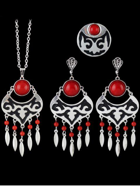 sale Leaf Beads Hollow Out Jewelry Set - RED ONE-SIZE Mobile
