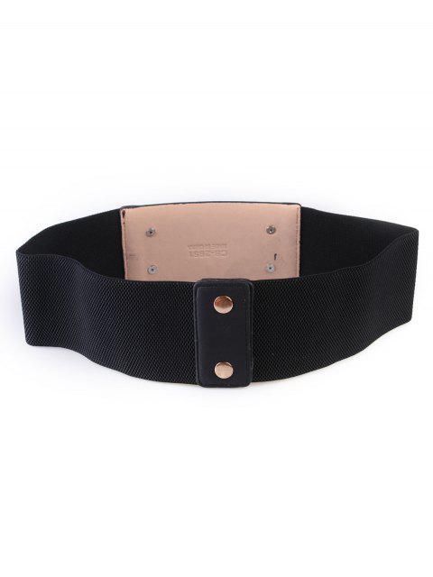 women's Tassel Retro Metal Elastic Wide Belt - BLACK  Mobile
