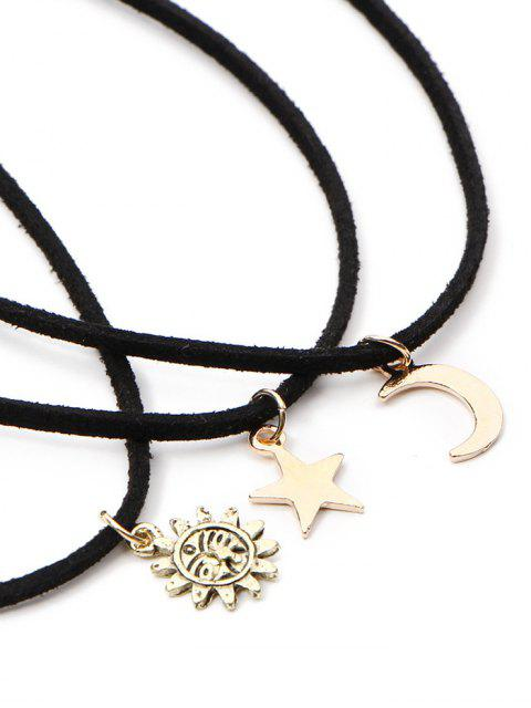 hot Velvet Sun Moon Star Chokers - BLACK  Mobile