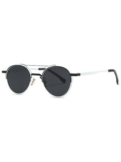 sale Metal Crossbar Oval Sunglasses - BLACK  Mobile