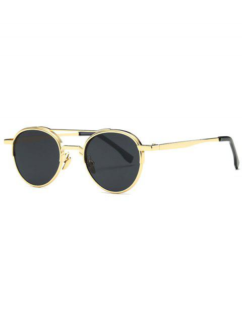 affordable Metal Crossbar Oval Sunglasses - GOLDEN  Mobile