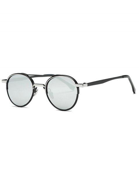 women Metal Crossbar Mirrored Oval Sunglasses - SILVER  Mobile