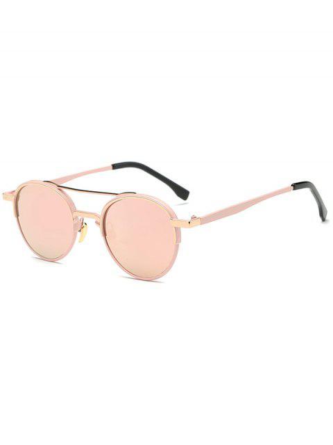 women's Metal Crossbar Oval Mirrored Sunglasses - PINK  Mobile
