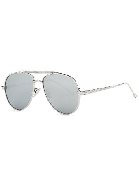 hot Ombre Lens Crossbar Mirrored Pilot Sunglasses - SILVER  Mobile